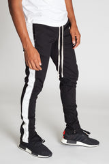 Striped Track Pants with Ankled Zippers Ver. 2.0 (Black/White)