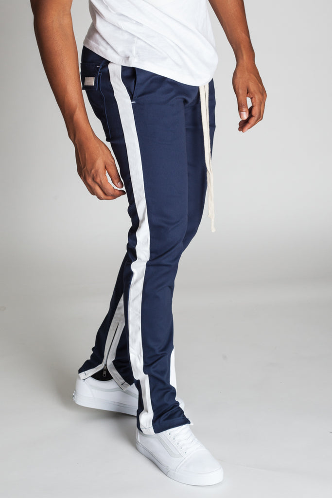 Striped Track Pants with Ankled Zippers (Cobalt/White Stripes)