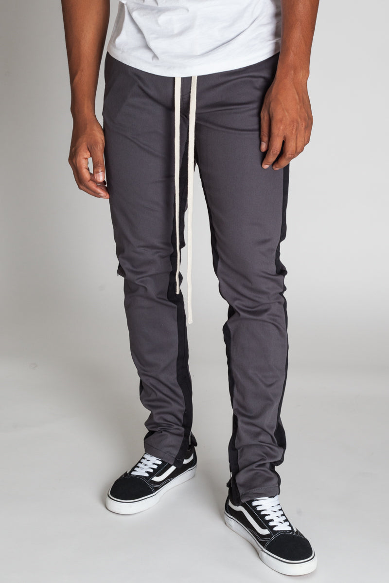 Striped Track Pants with Ankled Zippers (Charcoal/Black Stripes)