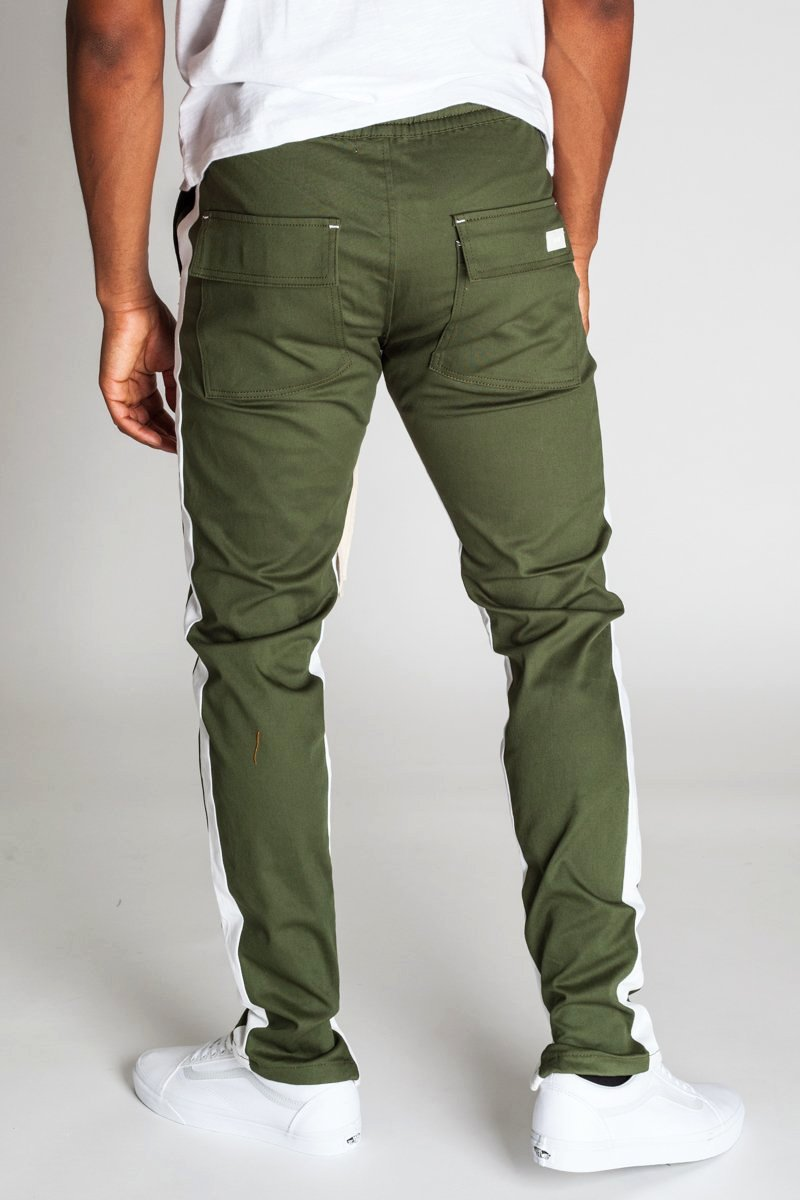 Striped Track Pants with Ankled Zippers (Olive/White Stripes)