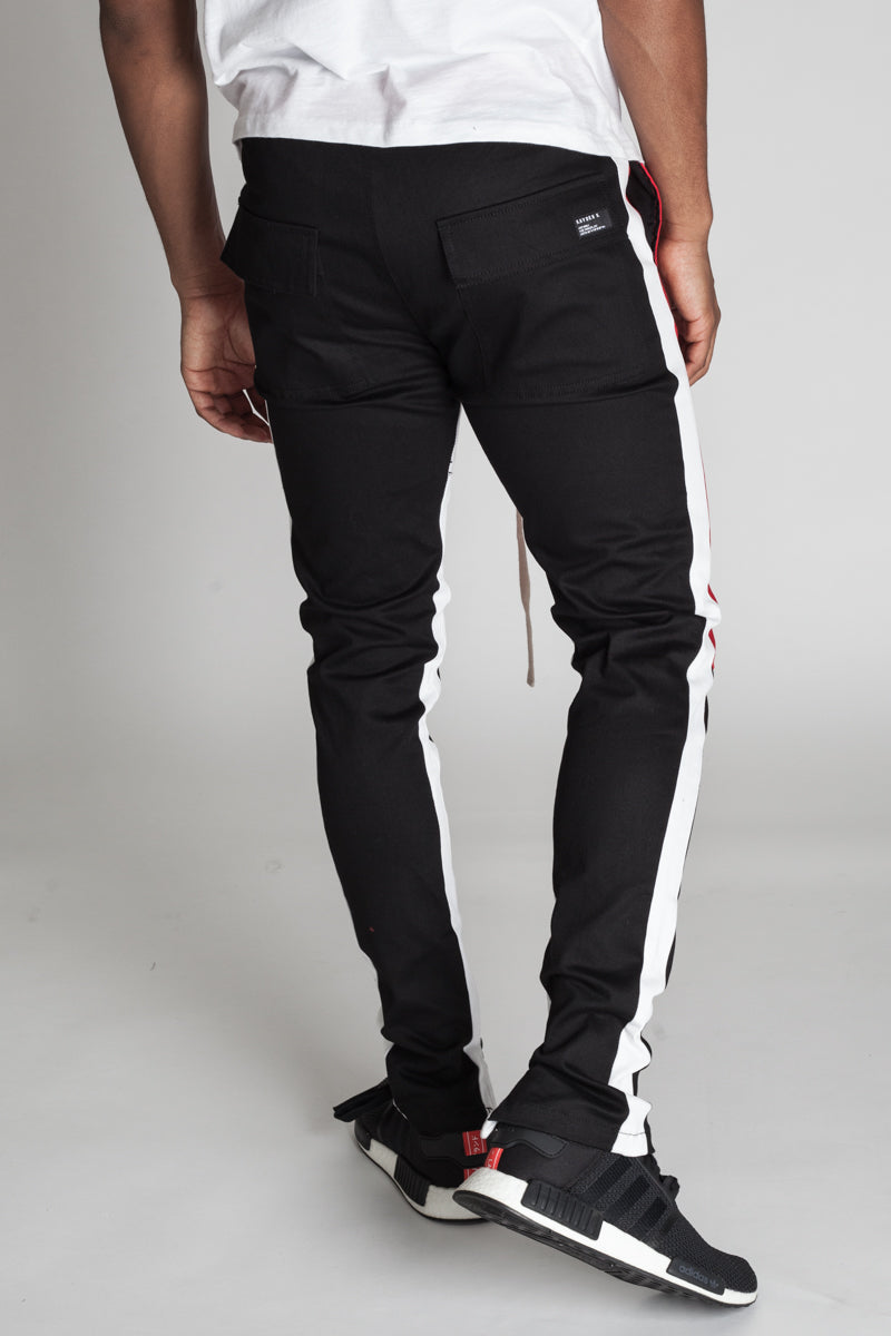 Cotton Twill Colorblocked Pants (Black)
