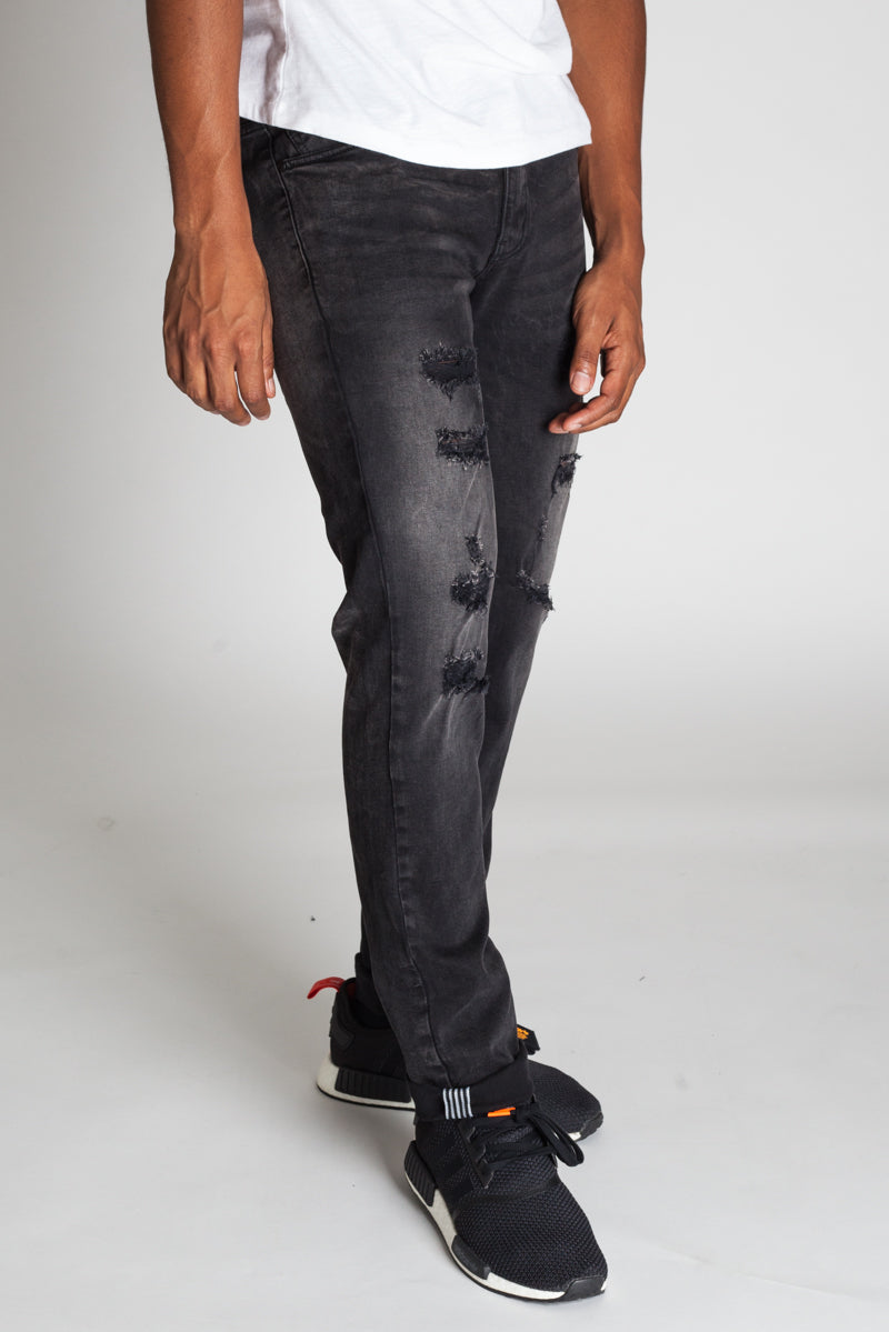 Inner Tape Distressed Slim Jeans (Dark Medium Grey)