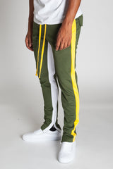 Striped Scuba Track Pants (Olive)