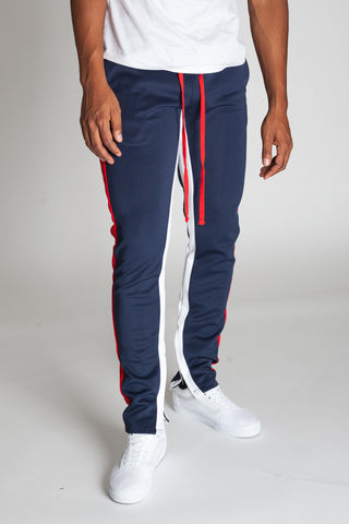 Striped Scuba Track Pants (Cobalt)