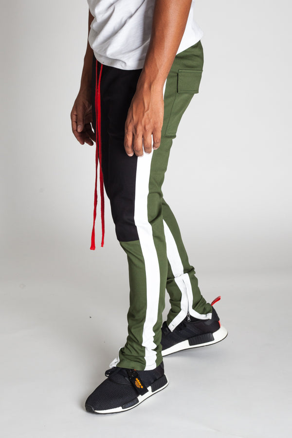 Cotton Twill Colorblocked Pants (Olive)