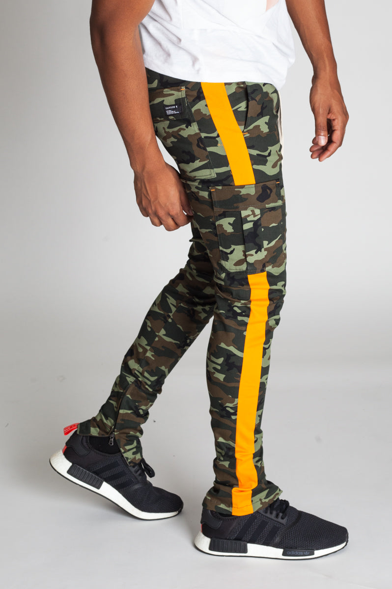 Striped Cargo Track Pants with Ankled Zippers (Olive Camo/Orange Stripes)