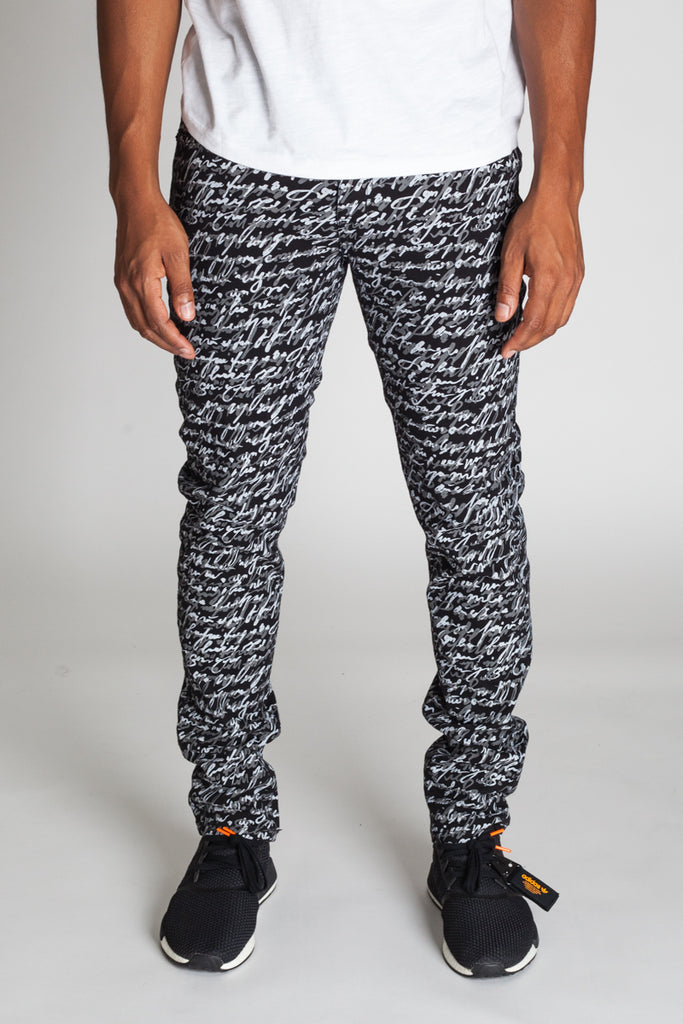 5-Pocket Scribble Pants (Black)