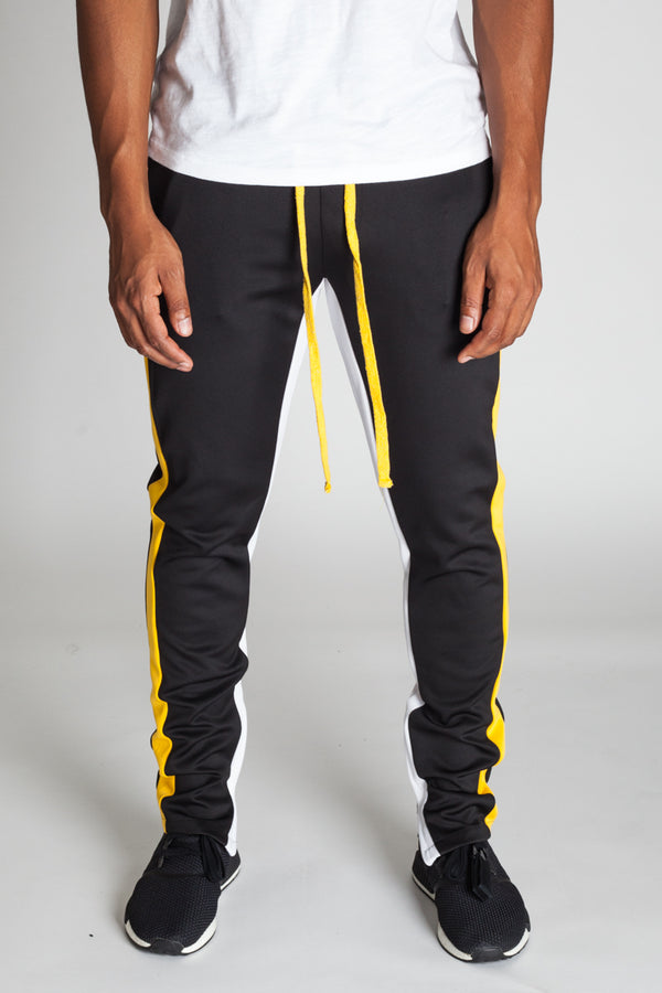 Striped Scuba Track Pants (Black)