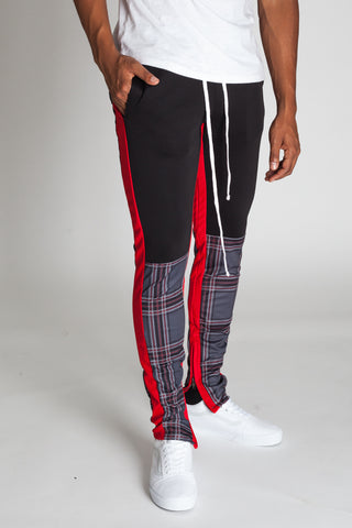 Plaid Blocked Scuba Track Pants (Gray)