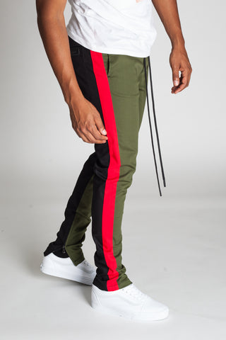 Vertical Color Block Track Pants (Olive/Black/Red)
