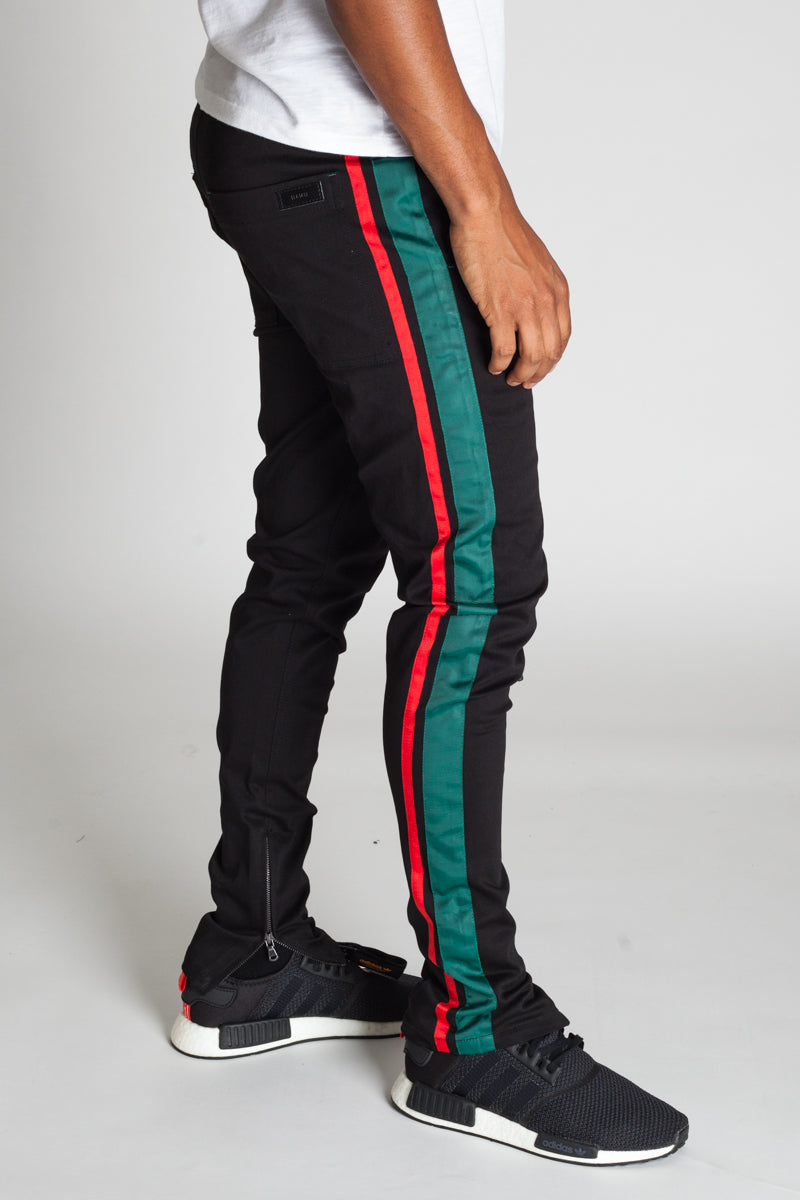 Double Striped Track Pants (Black/Green/Red)