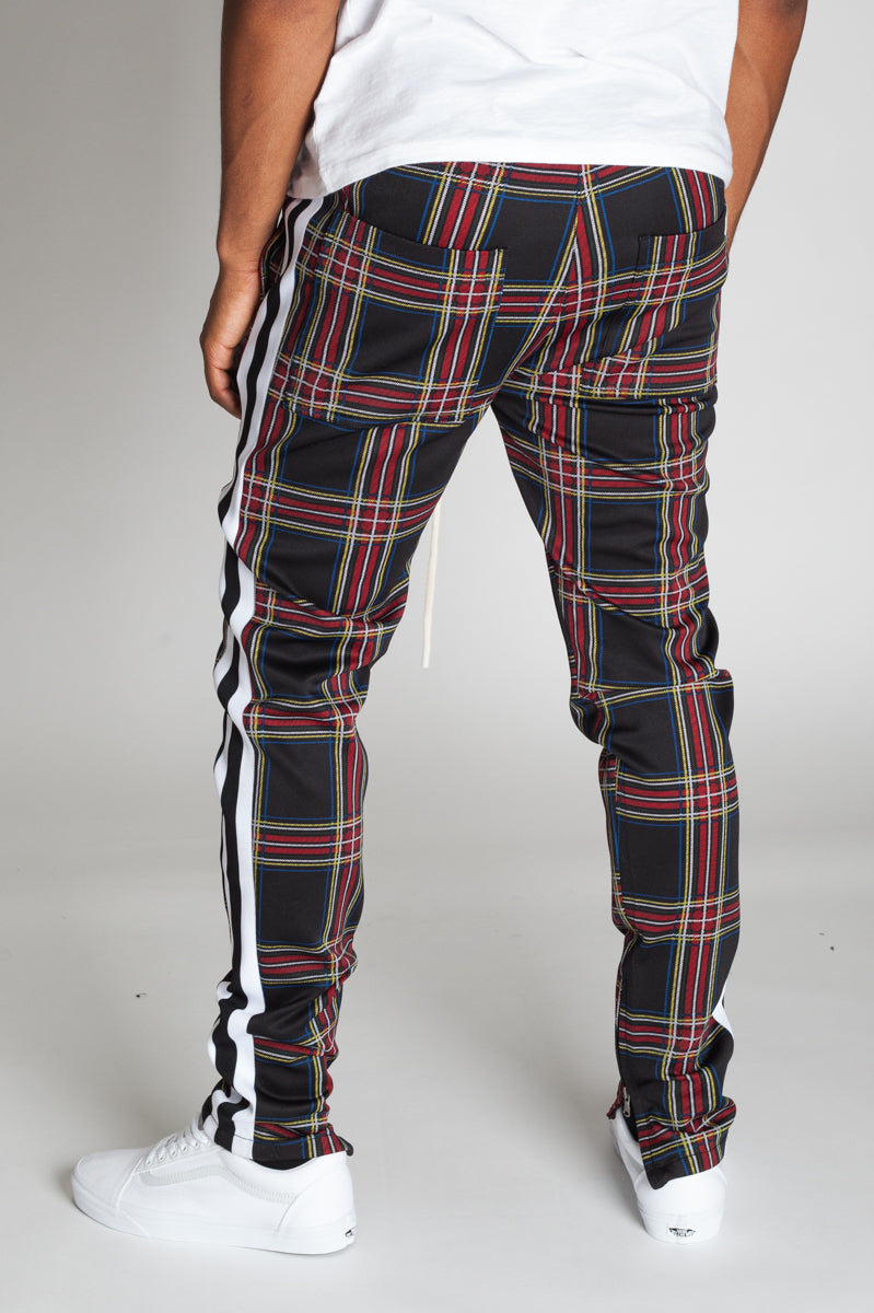 Striped Scuba Plaid Track Pants (Black)