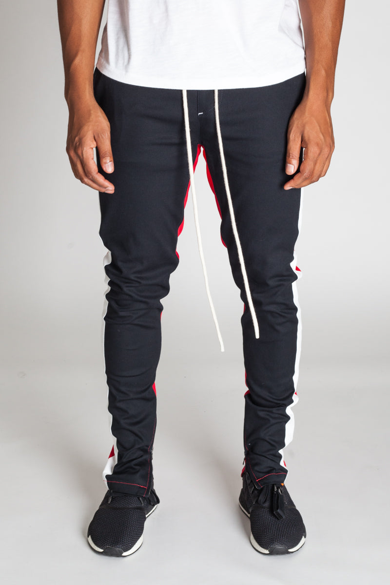 Vertical Color Block Track Pants (Navy/Red/White)