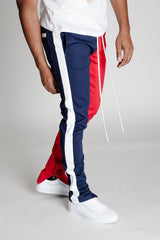2-Tone Track Pants with Ankled Zippers (Red/Navy)