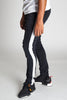 Striped Track Jeans with Coated Drawstrings (Black)