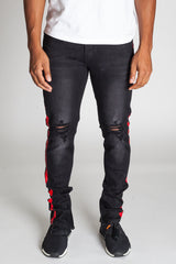 Striped Track Jeans with Ankled Zippers (Black/Red Stripes)