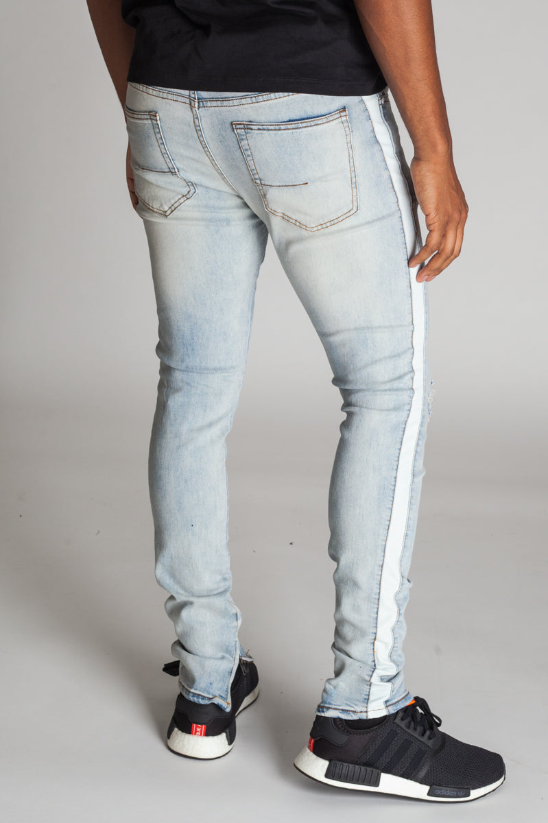Striped Track Jeans with Ankled Zippers (Vintage Lt. Blue/White Stripes)