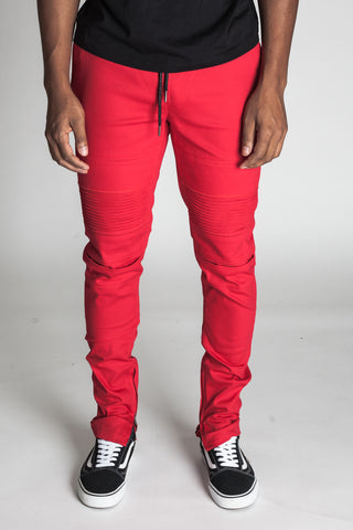Ankle Zip Moto Pants (Red)