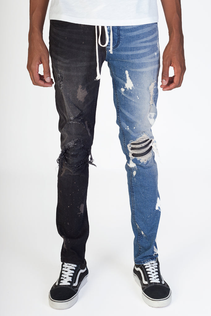 Contrast Pintucked Jeans (Blue/Black)