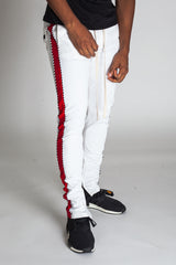 Striped Track Pants with Ankled Zippers Ver. 2.0 (White/Red)