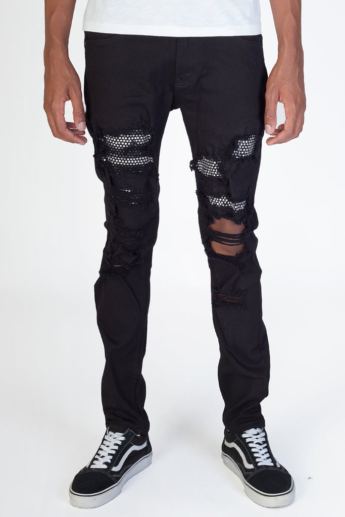 Rhinestones Patched Twill Pants (Black)