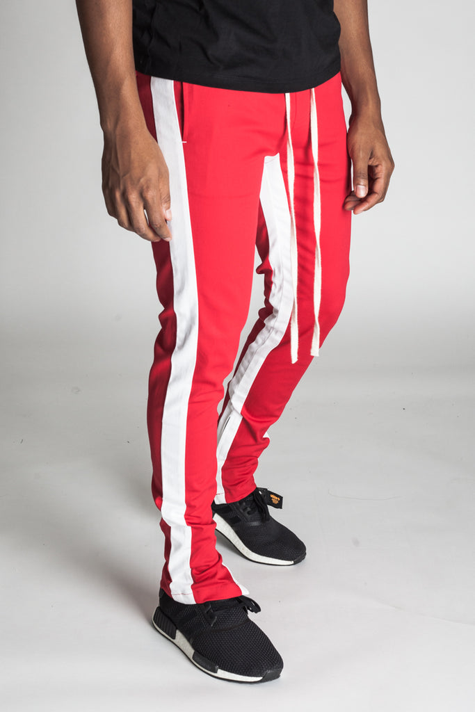 Striped Track Pants with Ankled Zippers (Red/White Stripes)