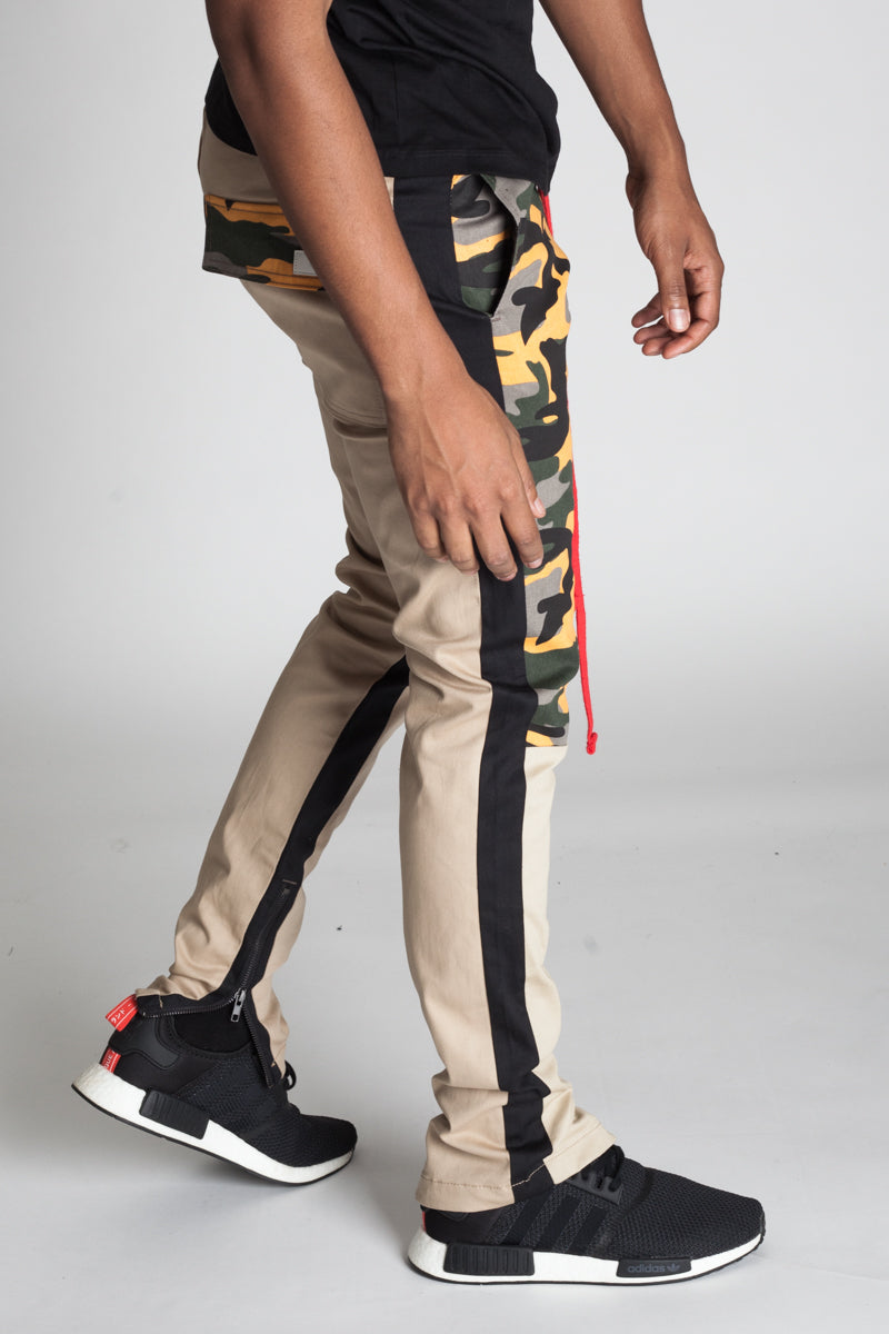 Camoblocked Track Pants with Ankled Zippers (Khaki)