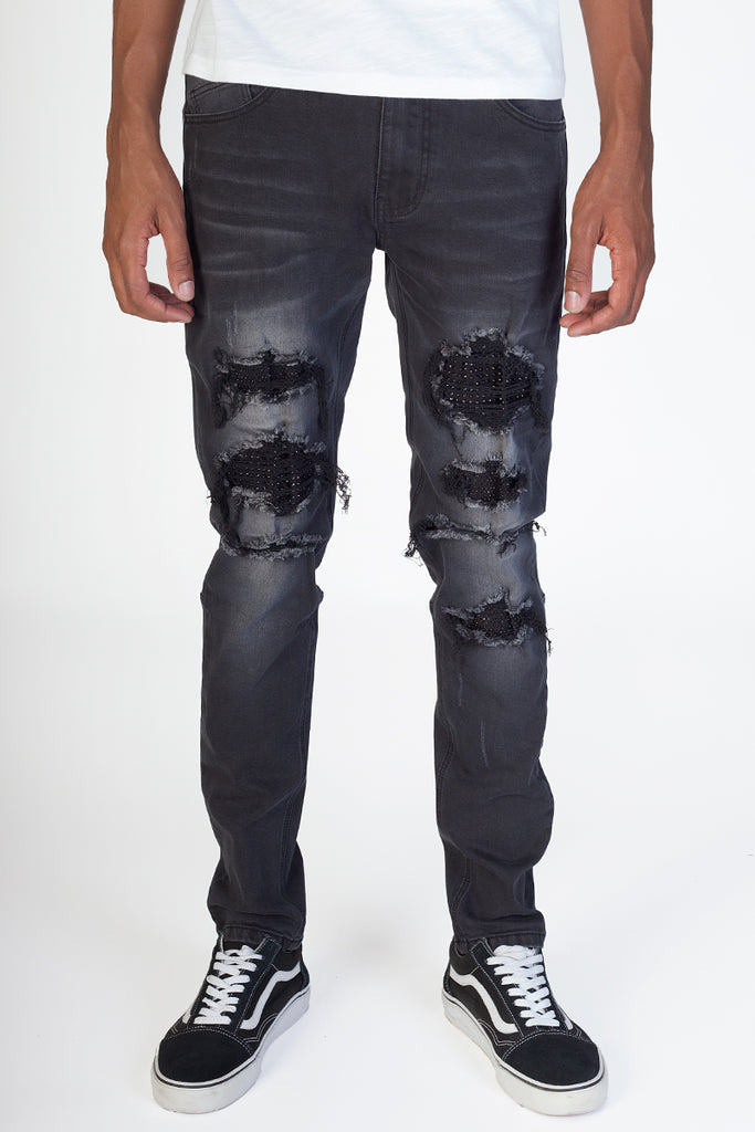 Rhinestones & Stud Patched Jeans (Black)