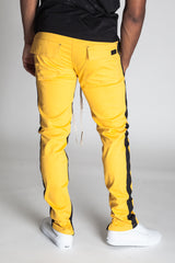 Striped Track Pants with Ankled Zippers (Yellow/Black Stripes)