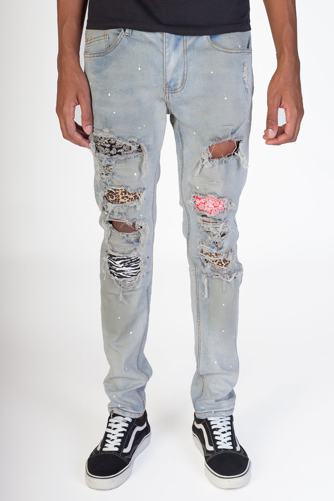Pintucked Multi Patch Jeans (Blue)
