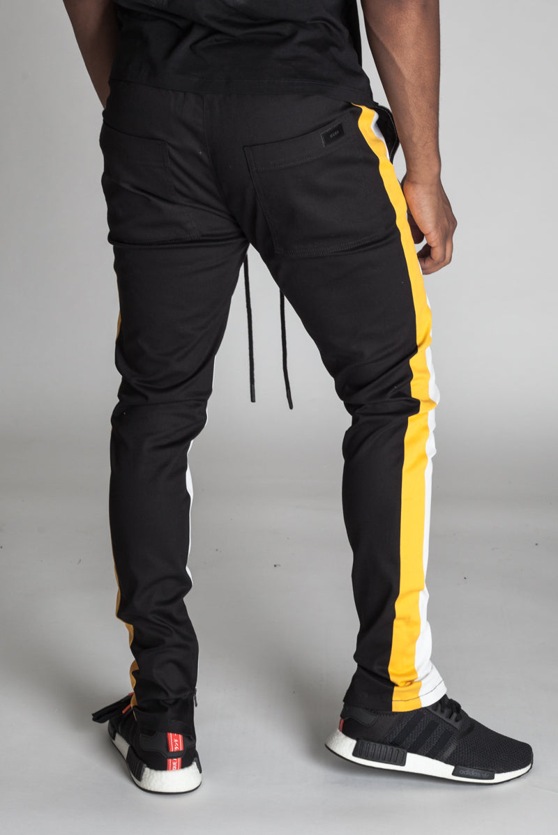 Vertical Color Block Track Pants (White/Black/Yellow)