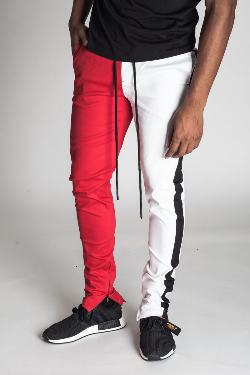 2-Tone Track Pants with Ankled Zippers (Red/White)