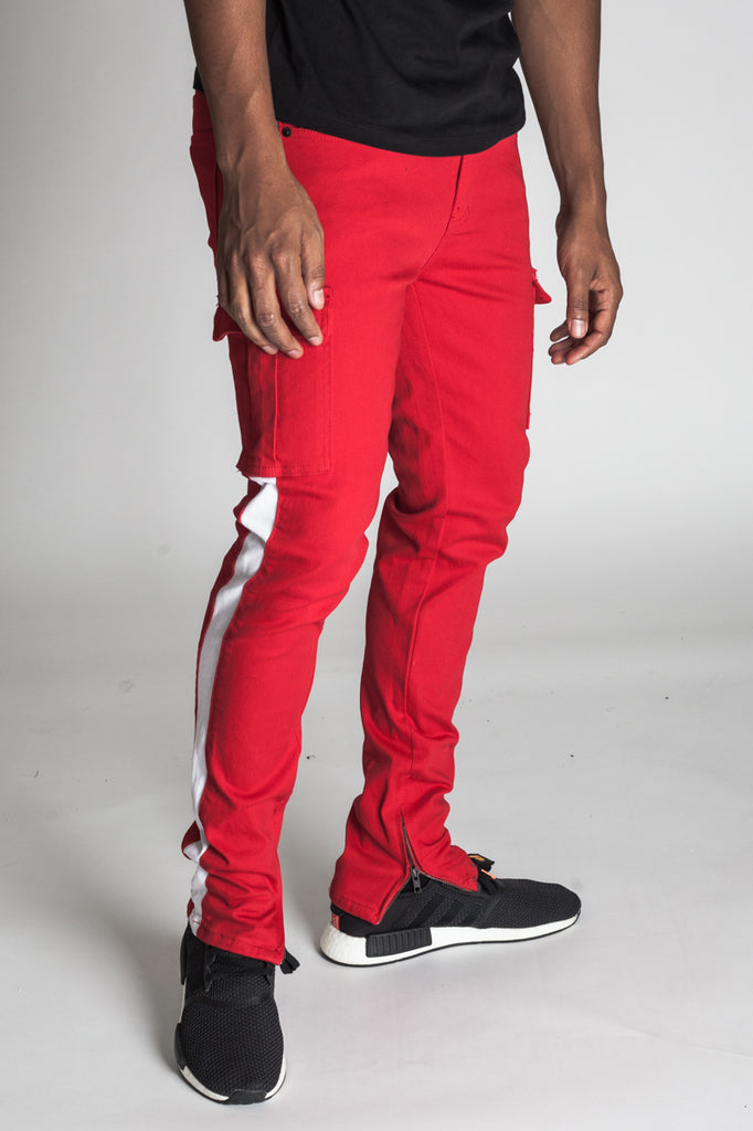 Striped Cargo Pants with Ankled Zippers (Red)