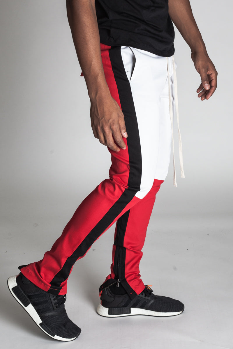 Cotton Twill Colorblocked Pants (Red)