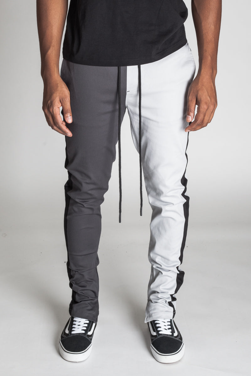 2-Tone Track Pants with Ankled Zippers (Gray/Charcoal)