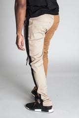 2-Tone Track Pants with Ankled Zippers (Khaki/Timber)
