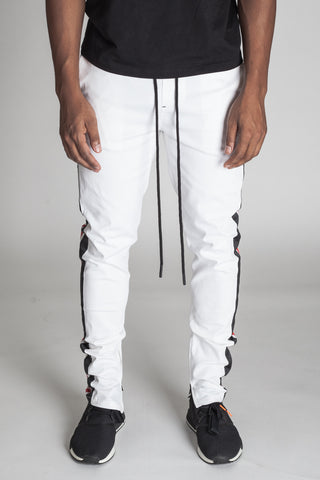 Double Striped Track Pants (White/Black/Red)