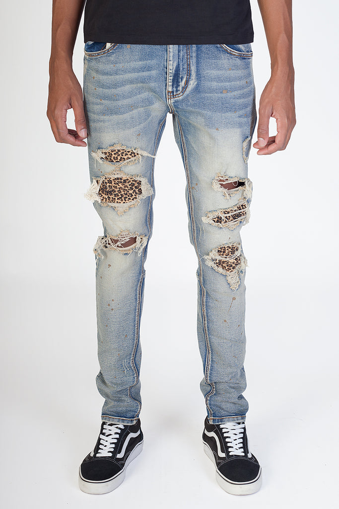 Leopard Patch Jeans (Vintage Medium Blue)