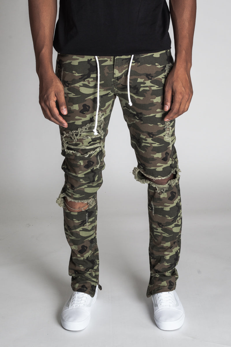 Distressed Ankle Zip Pants (Olive Camo)