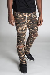 Distressed Ankle Zip Pants (Camel Camo)