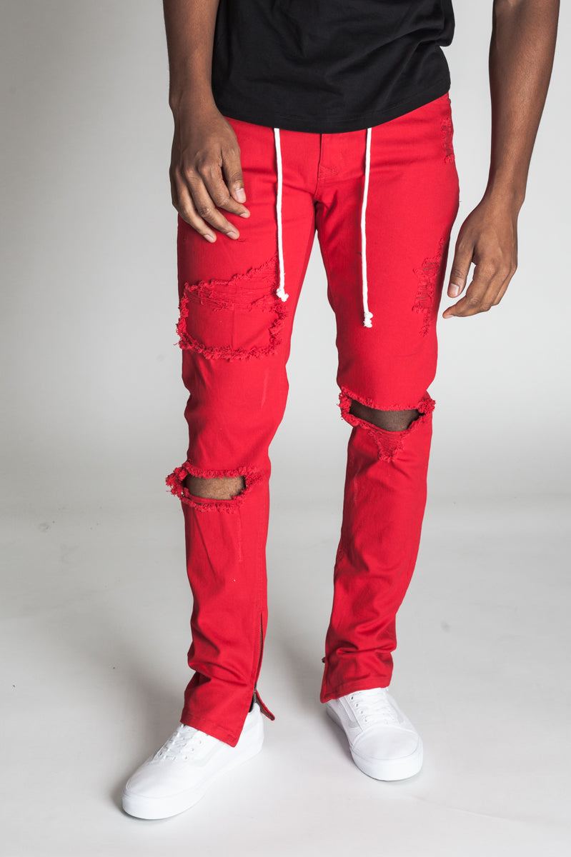 Distressed Ankle Zip Pants (Red)
