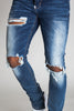Destroyed Knee Ankle Zip Jeans (Dark Medium Blue)