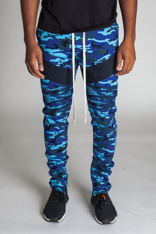 Camo Ankle Zip Pants (Blue)