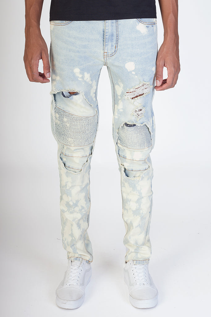 Bleach Spot Moto Patched Jeans (Blue)