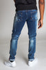 Inner Tape Destroyed Knee Slim Jeans (Dark Medium Blue)