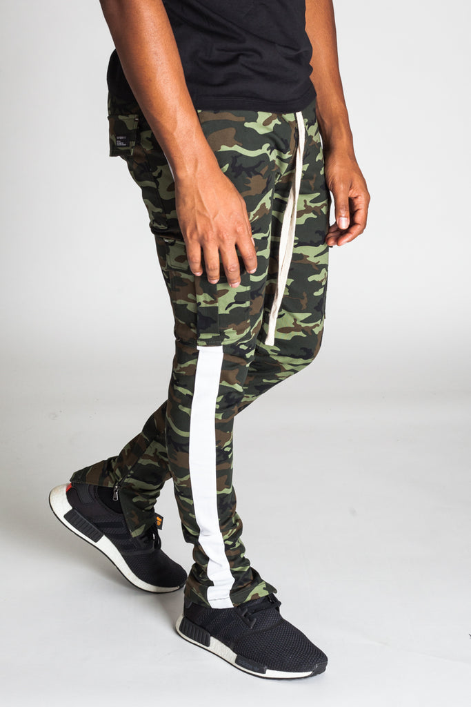 Striped Cargo Track Pants with Ankled Zippers (Olive Camo/White Stripes)