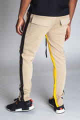 Striped Scuba Track Pants (Khaki)