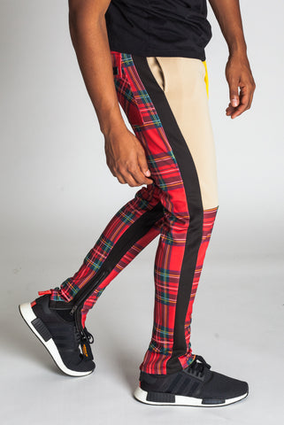 Plaid Blocked Scuba Track Pants (Red)