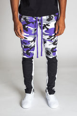 Camoblocked Track Pants with Ankled Zippers (Black)