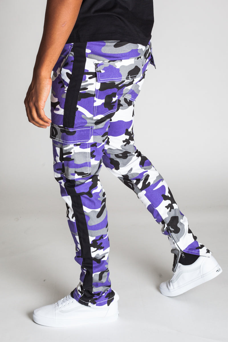 Striped Cargo Track Pants with Ankled Zippers (Ultra Violet Camo)